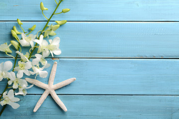 Starfish and orchid