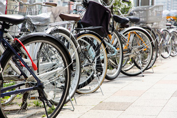 Lot of Bicycles parking at Tokyo, Japan