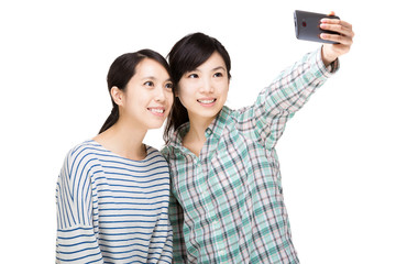 Two asia woman selfie