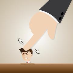 cartoon businessman crushed head by boss hand