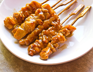 Japanese food, grilled chicken with skewer Yakiniku