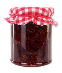 Wild strawberries preserved in jar