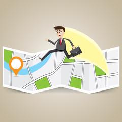 cartoon businessman travel over map to destination