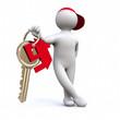 3D Man with house keys
