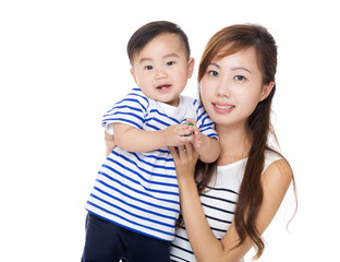Asia mother and son portrait