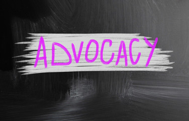 advocacy handwritten with chalk on a blackboard