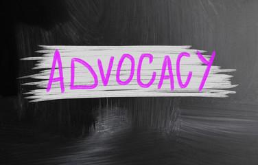 advocacy handwritten with chalk on a blackboard