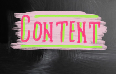 content handwritten with chalk on a blackboard