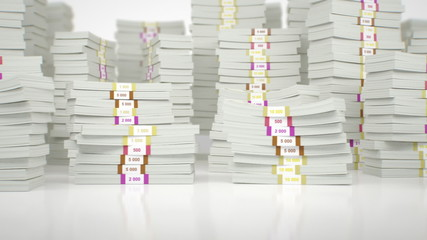 Stacks of money bills - loopable, HD