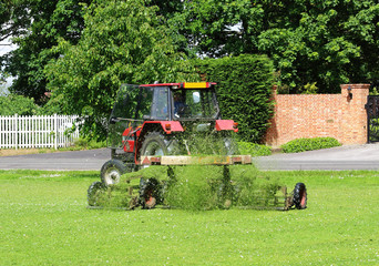Tractor with trailer Mowing grass