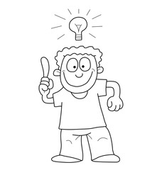 Monochrome outline cartoon man having an idea