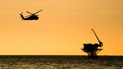 oil platform silhouette on the sea