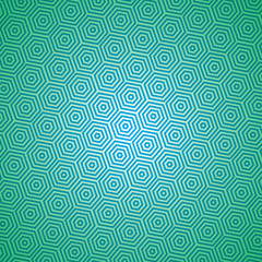 Seamless pattern of hexagons, blue on green