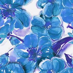 Blue flowers seamless pattern
