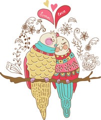 Two cute birds in love, colorful illustration