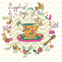 Color tea time background