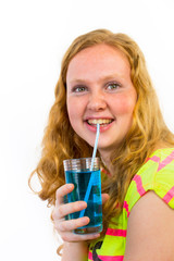 Girl drinks blue soft drink