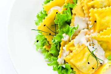 ravioli with white sauce