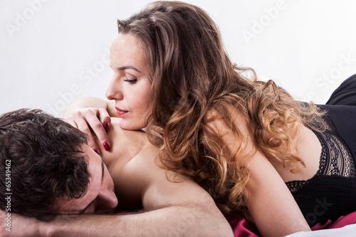 Erotic moments in bedroom