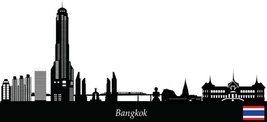 bangkok skyline with flag