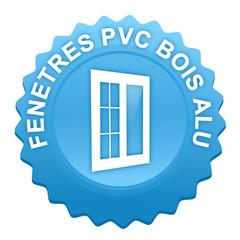 fenêtres pvc bois alu sur bouton web denté bleu