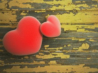 heart with wood background
