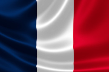 Close up of the flag of France