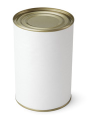 Tin Can with blank label isolated on white