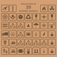 Collection of packing simbols on backgrownd