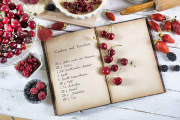 cookbook with ingredients