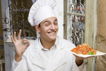 Happy chef / Chef and spaghetti.
