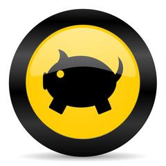 piggy bank black yellow web icon