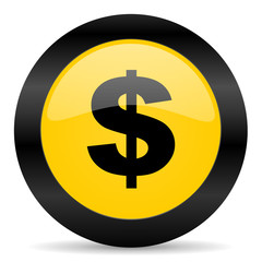 dollar black yellow web icon