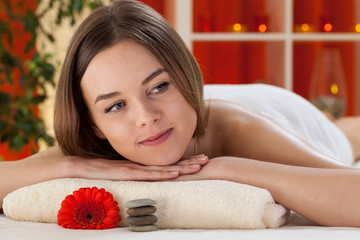 Woman enjoying her day at spa
