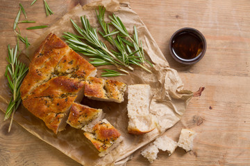 Fresh focaccia bread from the bakery