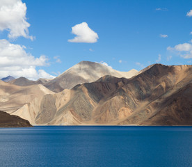 Pangong Tso mountain lake panorama with mountains and blue sky r