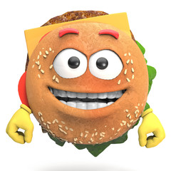 3d hamburger with expression