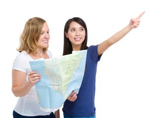 Tourist travel women friends with map isolated on white