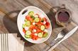 Healthy country lunch of fresh feta salad