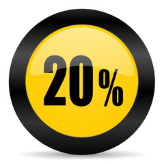 20 percent black yellow web icon