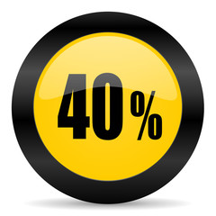 40 percent black yellow web icon