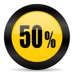 50 percent black yellow web icon