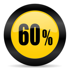 60 percent black yellow web icon