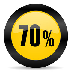 70 percent black yellow web icon