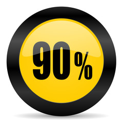90 percent black yellow web icon