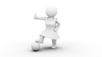 3D Soccer Woman - Thumbs up