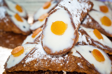 Sicilian cannoli. typical sicilian sweet