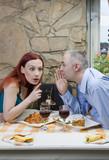Tell me a secret / Man share a gossip. poster