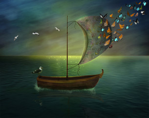 fantastic boat with butterflies