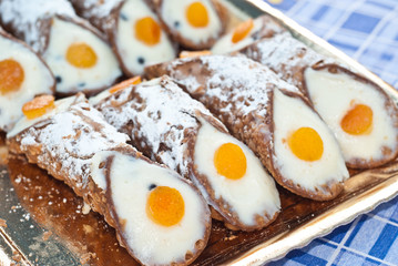 Sicilian cannoli with orange